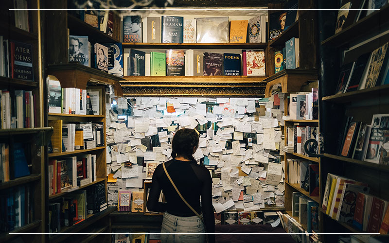 Books and post it notes