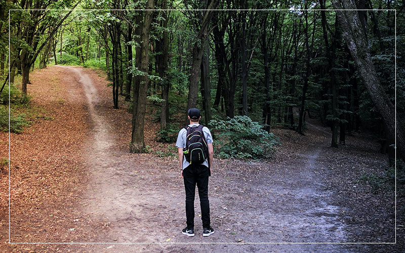 Man in front of two paths