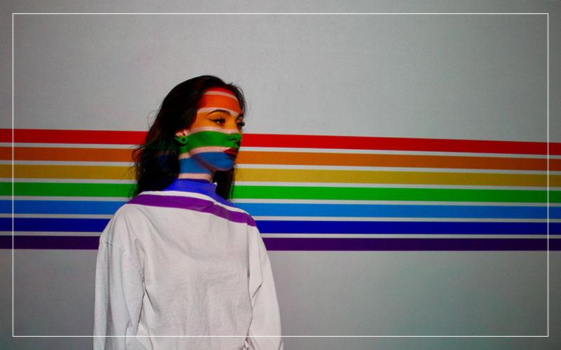 woman rainbow stripes